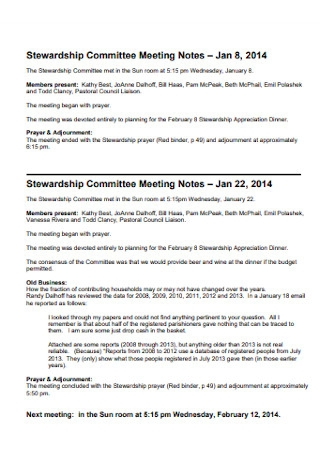 Stewardship Committee Meeting Notes