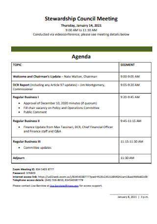 Stewardship Council Meeting Agenda