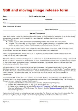 Still and Moving Image Release Form