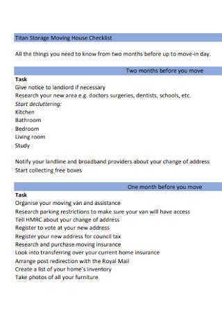 Storage Moving House Checklist