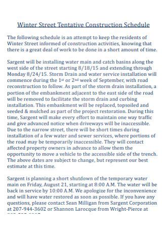 Street Tentative Construction Schedule