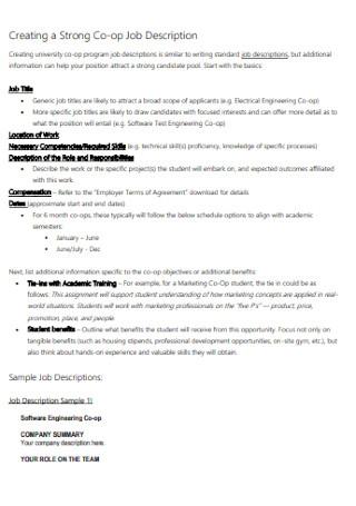 Strong Co op Job Description