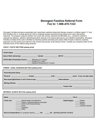 Strongest Families Referral Form