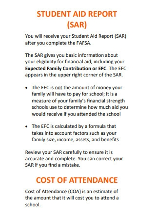 Student Aid Report Facts