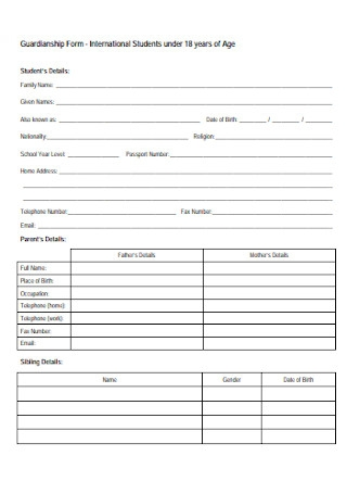 Student Guardianship Form
