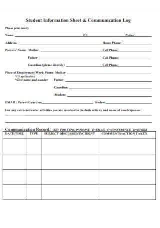 Student Information Sheet Communication Log