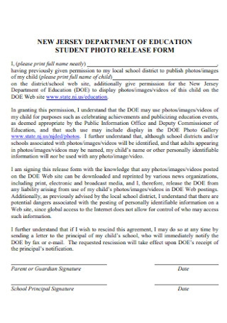 Student Photo Release Form