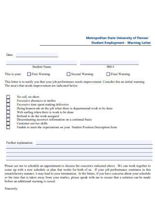 Student Warning Letter