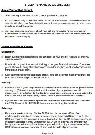 Students Financial Aid Checklist
