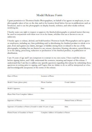 Studio Model Release Form