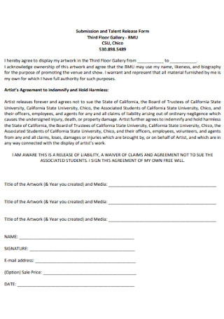 Submission and Talent Release Form