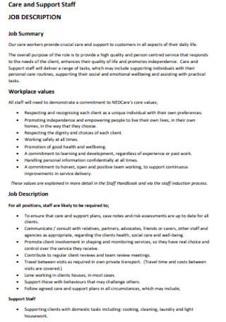 Support Staff Job Description