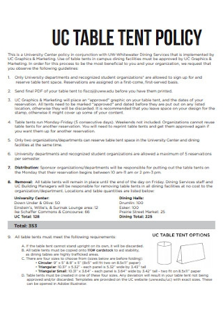 Table Tant Policy Template
