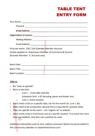 Table Tent Entry Form