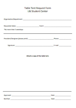 Table Tent Request Form