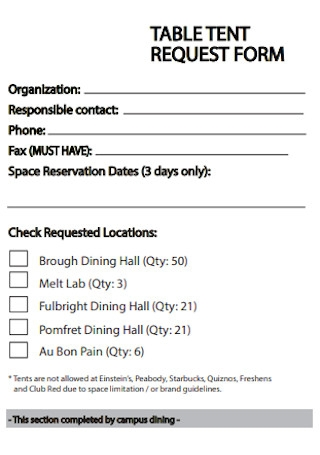 Table Tent Request Form Example