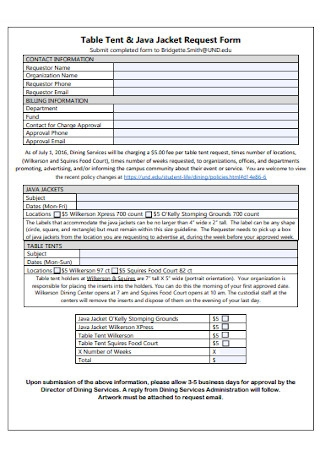Table Tent and Jacket Request Form