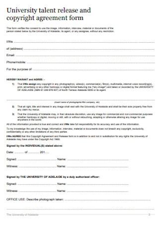 Talent Release and Copyright Agreement Form