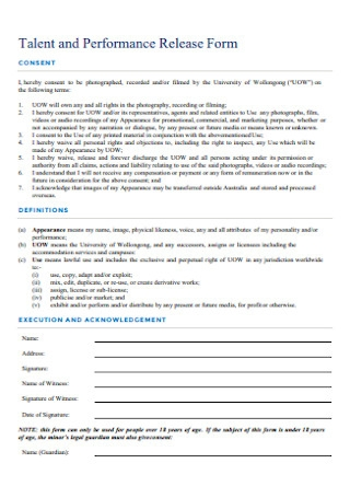 Talent and Performance Release Form