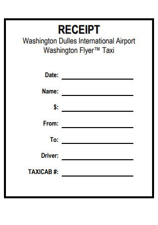 Taxi Receipt Format Template