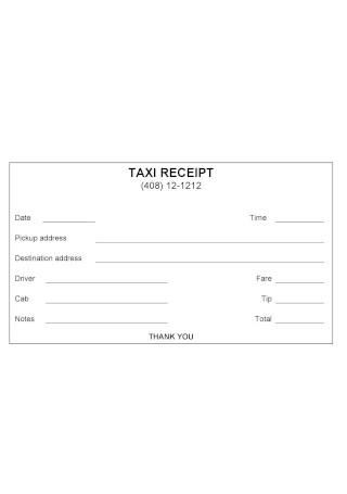 Taxi Receipt Sample Template