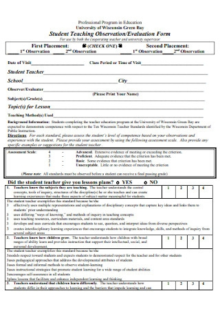 Teaching Observation and Evaluation Form