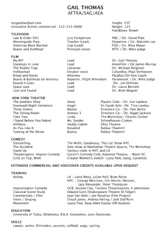 Television Acting Resume