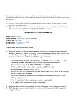 Template for Project Completion Certification