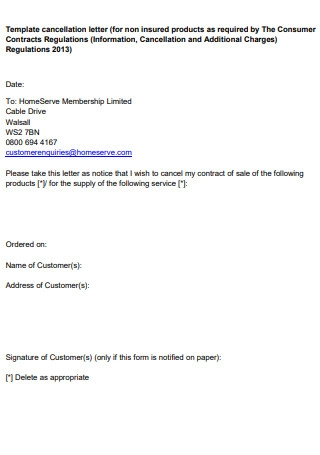 Template of Cancellation Letter