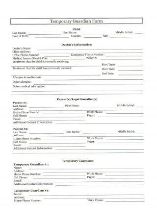 Temporary Doctors Guardianship Form