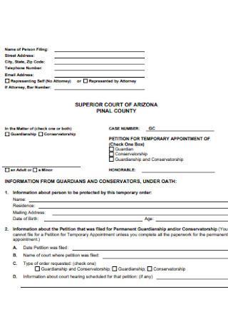 Temporary Guardianship Form Format