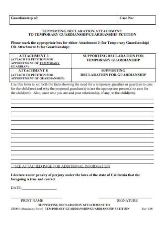 Temporary Guardianship Petetion Form