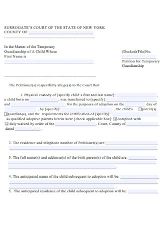 Temporary Guardianship of Child Form
