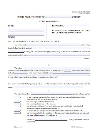Temporary Letters of Guardianship Form