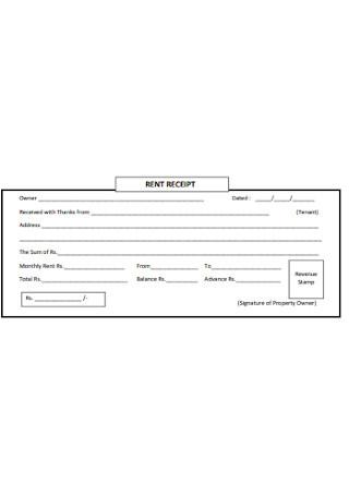 Tenant Monthly Rent Receipt