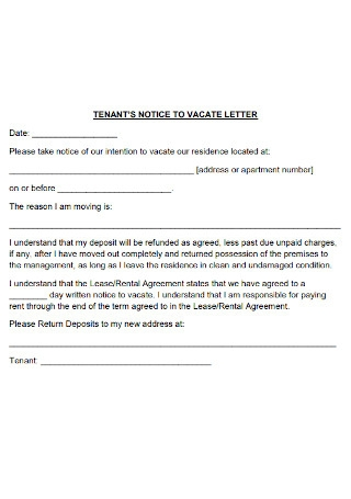 Tenant Notice to Vacate Letter