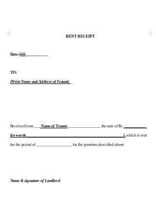 Tenant Rent Receipt in Word