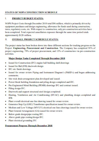 Tentative Programme Schedule for Construction