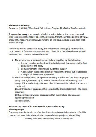 The Persuasive Essay Sample