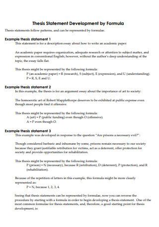 Thesis Statement Development by Formula