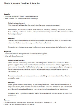 Thesis Statement Qualities