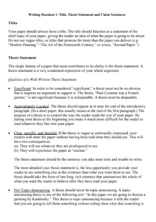Thesis Statement and Claim Sentences
