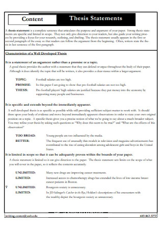 Thesis Statements Content Example