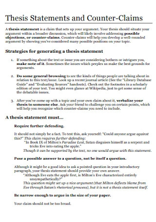 Thesis Statements and Counter Claims