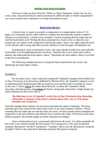 Thesis Statements for Book Reviews
