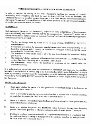 Third Revised Indemnification Agreement