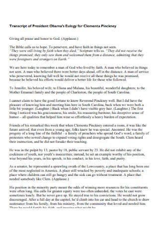 Transcript of President Eulogy
