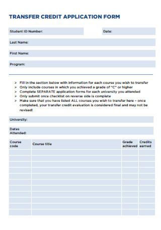 Transfer Credit Application Form
