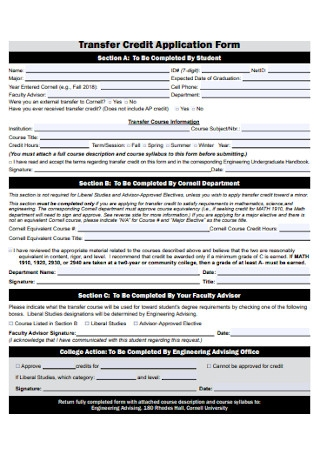 Transfer Credit Application Form1