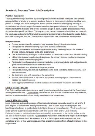 Tutor Job Description
